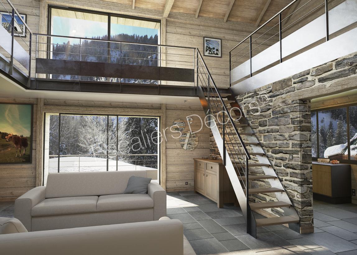 escalier droit ou 1 4 tournant contemporain escaliers. Black Bedroom Furniture Sets. Home Design Ideas