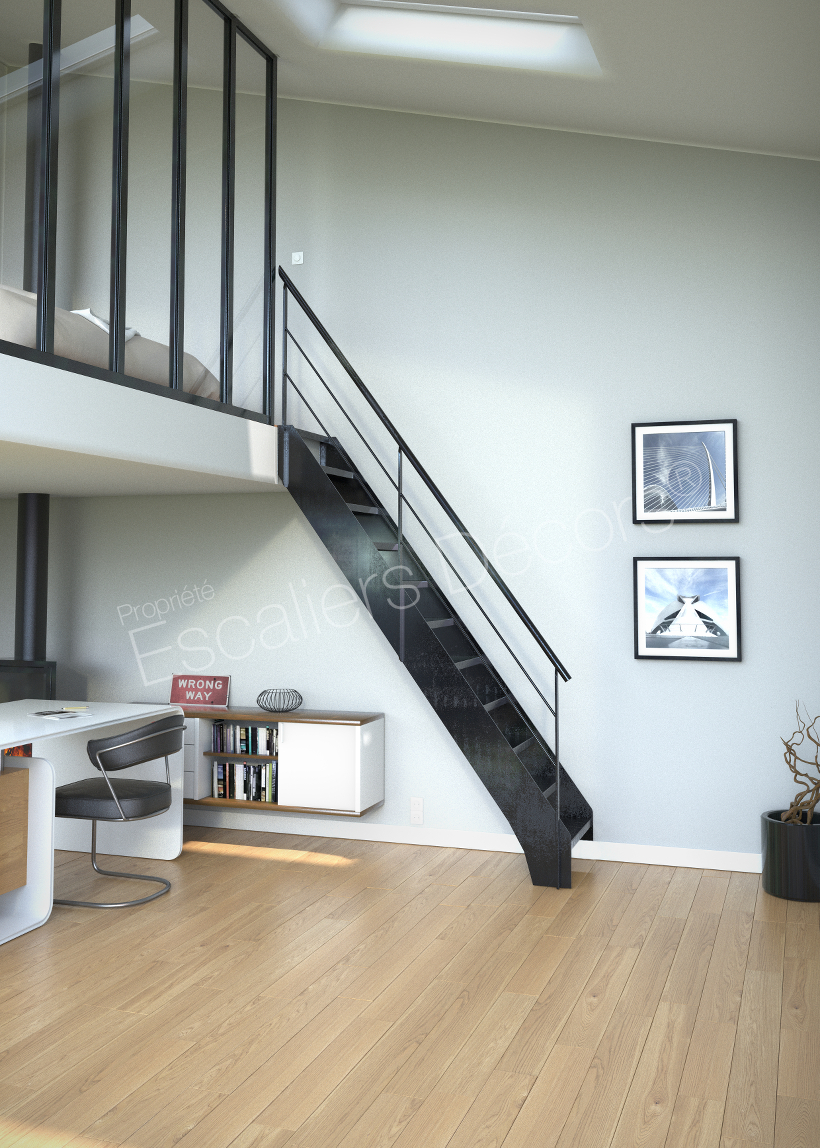 escalier droit ou 1 4 tournant contemporain escaliers d cors. Black Bedroom Furniture Sets. Home Design Ideas