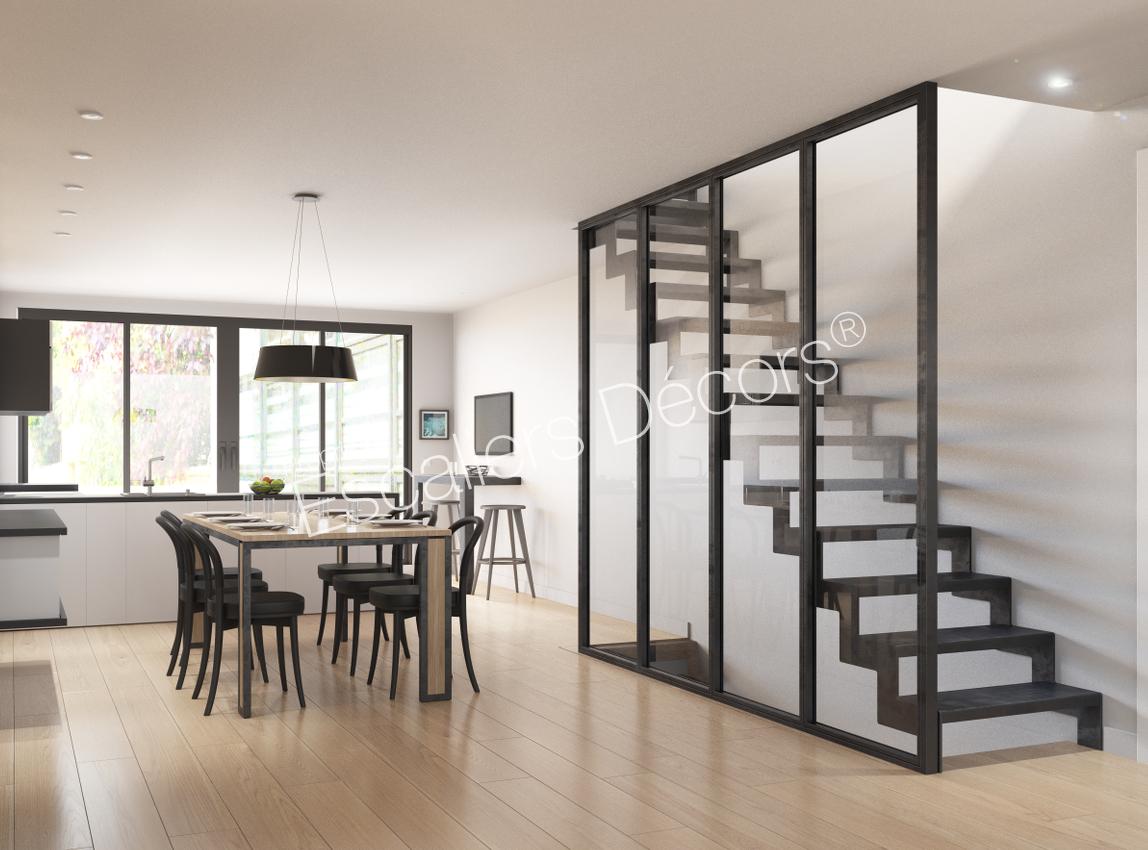 Photo ST7 - ESCA\'DROIT® Contemporain : escalier droit sans rampe ...
