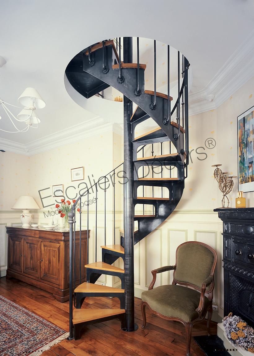 Escalier En Colimaçon Métal Et Bois Pour Une Décoration Classique. Cet  Escalier En Fer Forgé, Avec Son Look U0027fin XIXème Siècleu0027, Inspiré Des  Bistrots ...