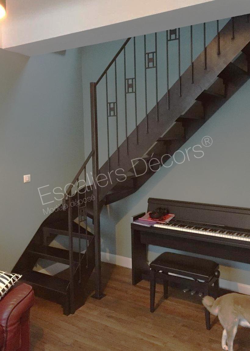 Décoration Marche Escalier Intérieur photo dt134 - esca'droit® art déco 1/4 tournant