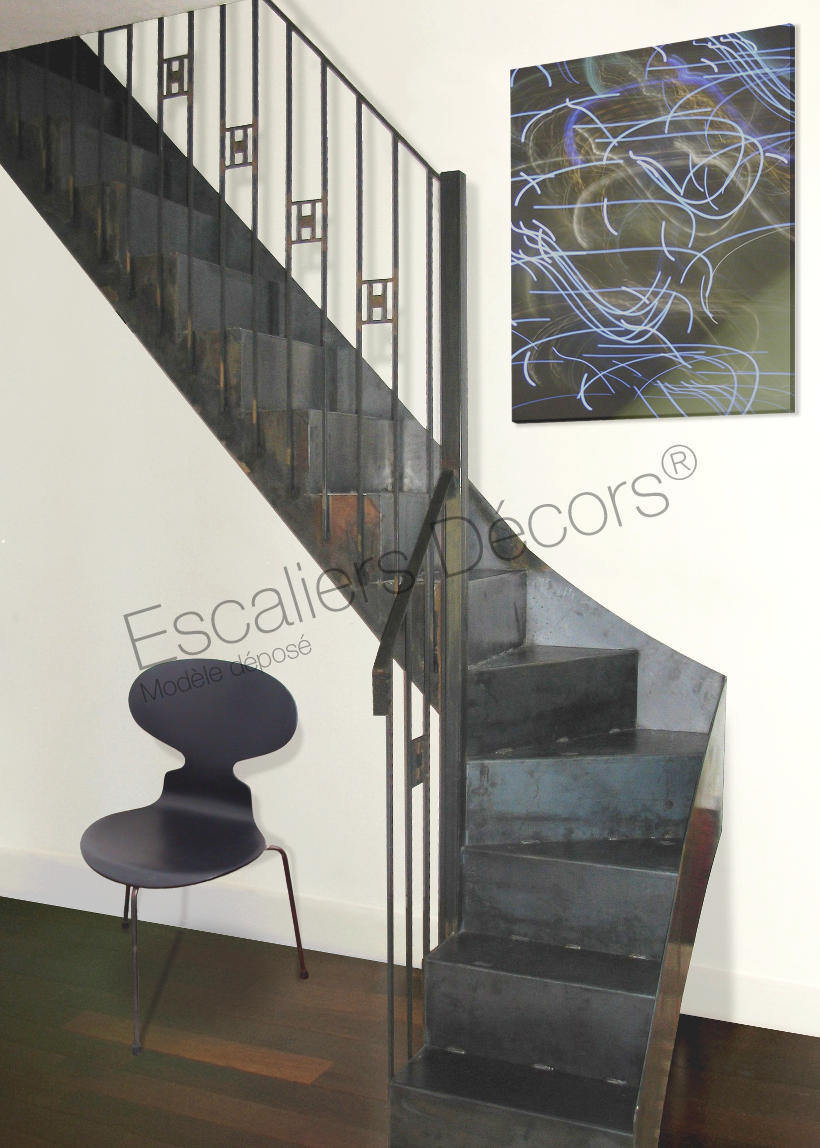 Décoration Marche Escalier Intérieur photo dt64 - esca'droit® art déco 1/4 tournant intermédiaire