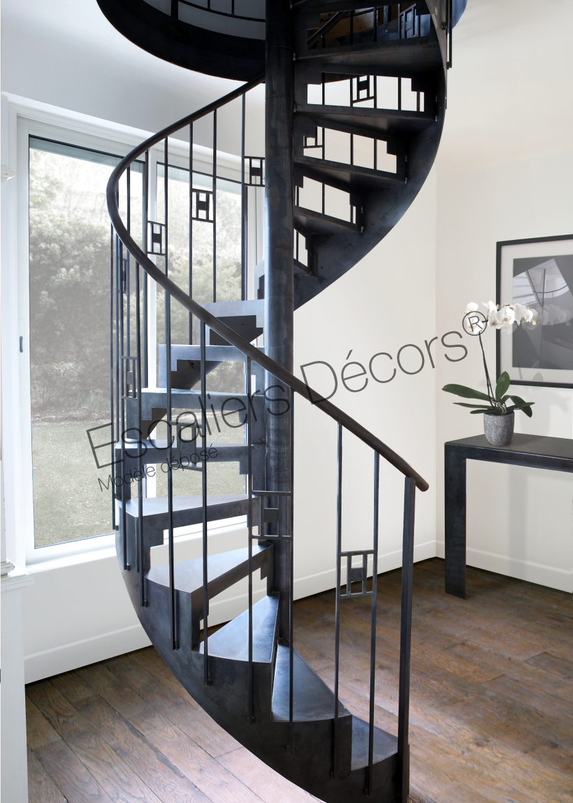 Photo DH85 - SPIR\'DÉCO® Art Déco. Escalier intérieur métallique ...