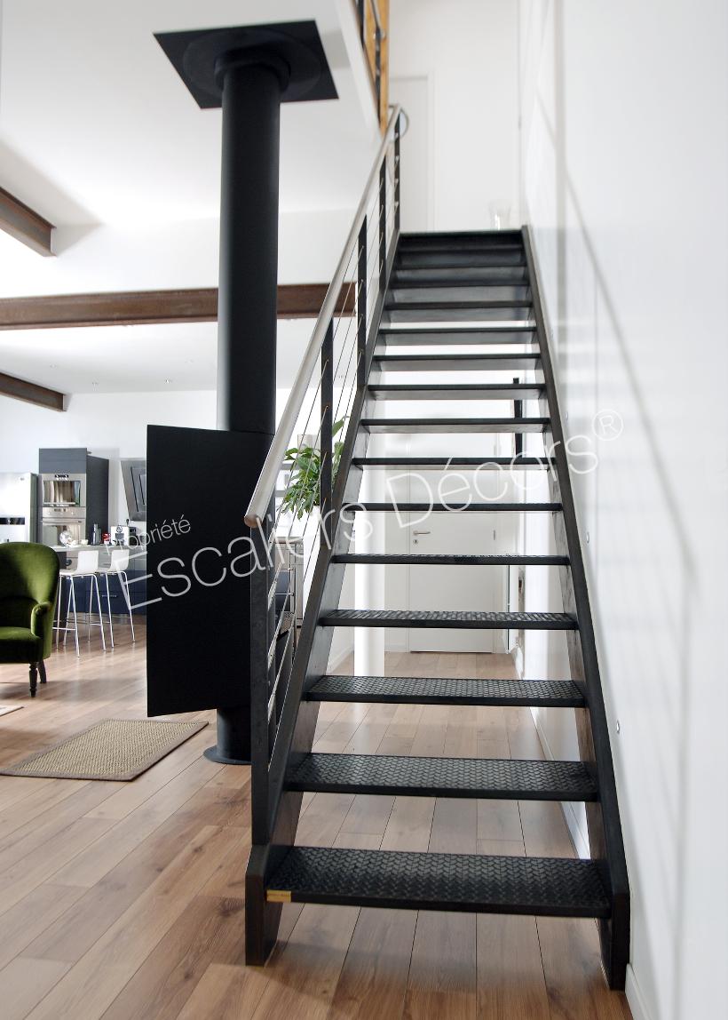 Peinture Escalier Noir Mat escalier droit en acier - escaliers décors®