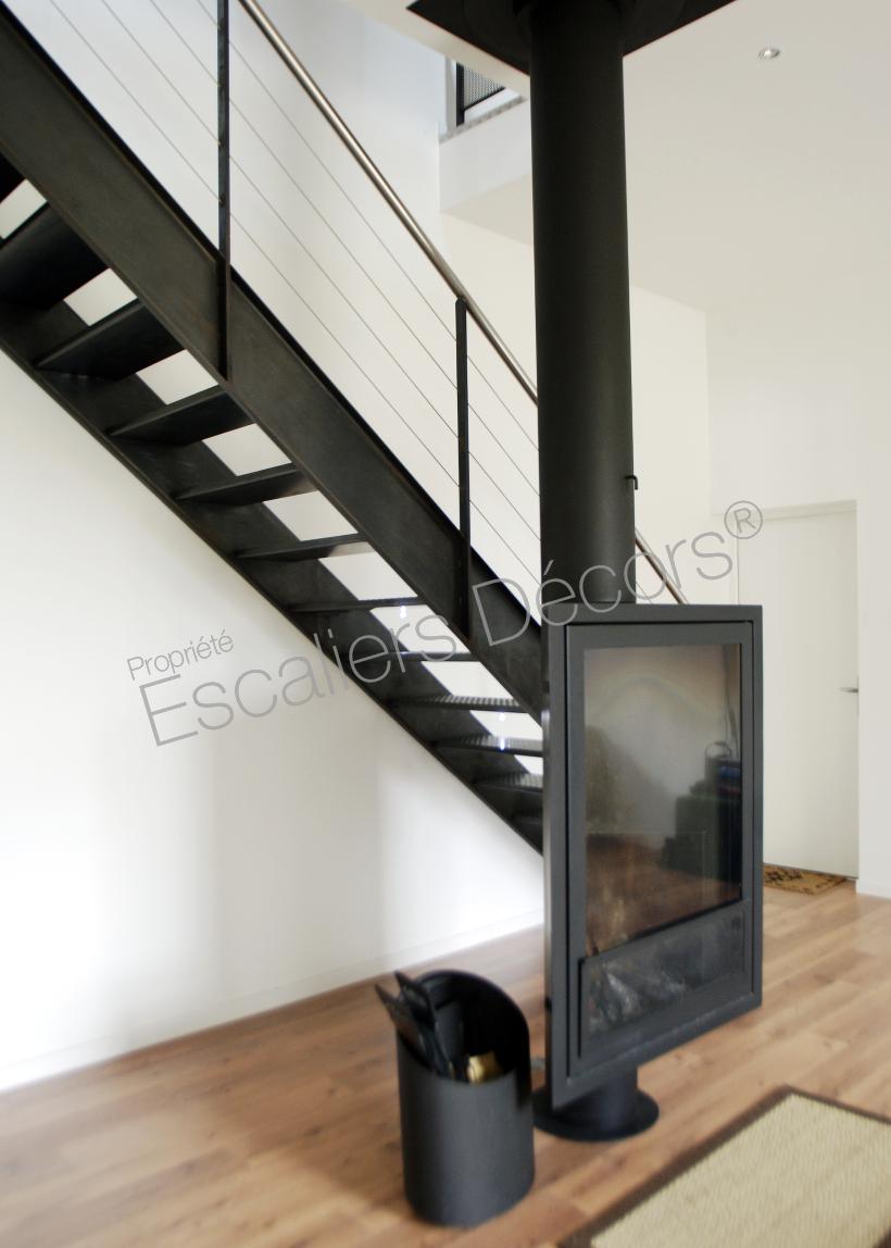 Escalier Bois Metal Noir escalier droit en acier - escaliers décors®