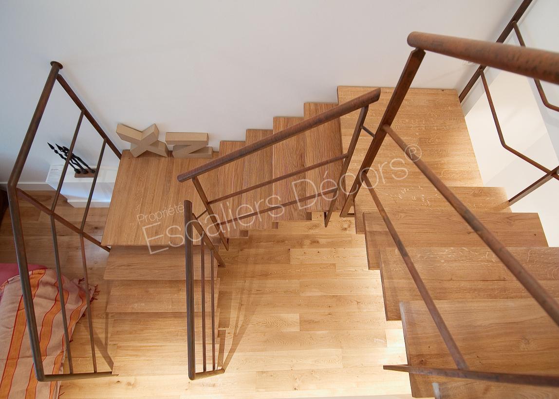 Escalier Bois Entre Deux Murs escalier sur limon central - escaliers décors®