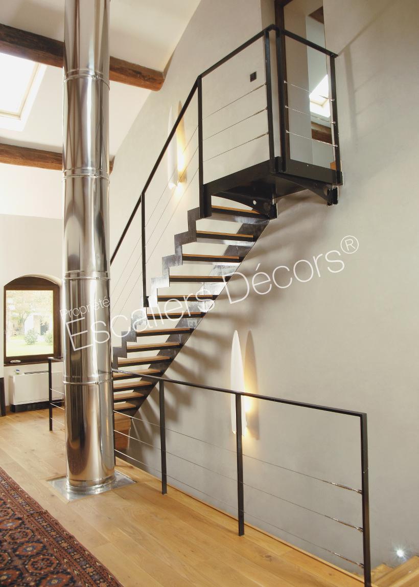Photo DT46 - ESCA\'DROIT® avec Palier d\'Arrivée formant escalier 1/4 ...