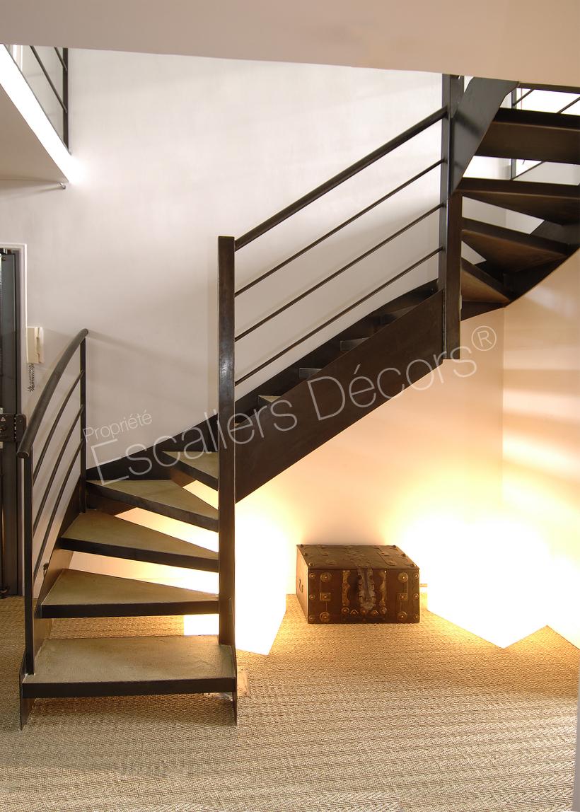 Escalier Interieur Beton Design photo dt24 - esca'droit® 2 quartiers tournants bas et haut