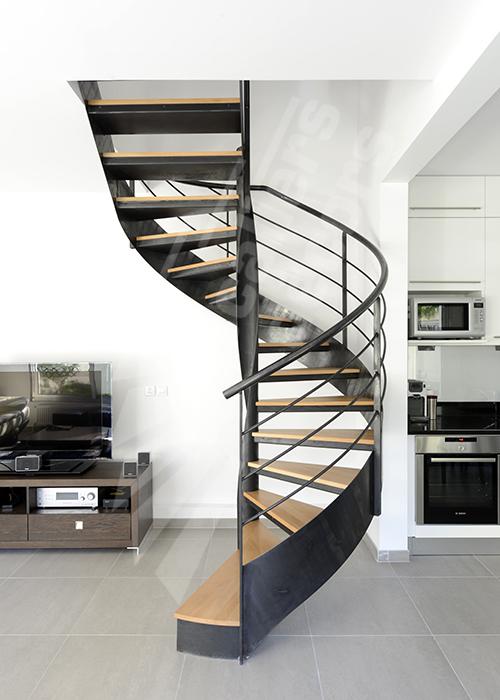 escalier dintrieur mtallique design sur flamme centrale formant escalier hlicodal sans mt central avec vole droite larrive