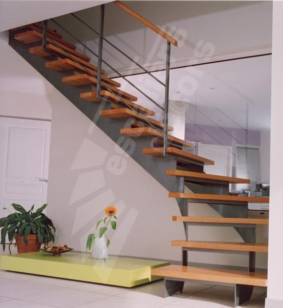 Photo dt62 escadroit sur limon central balancé escalier intérieur métal et