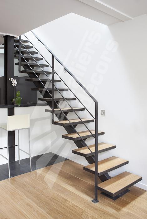Photo DT79 - ESCA\'DROIT®. Escalier droit sur Limon Central en acier ...